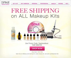 free ship eblast 300x244 FREE Shipping on Dinair Airbrush Makeup Kits this weekend ONLY!