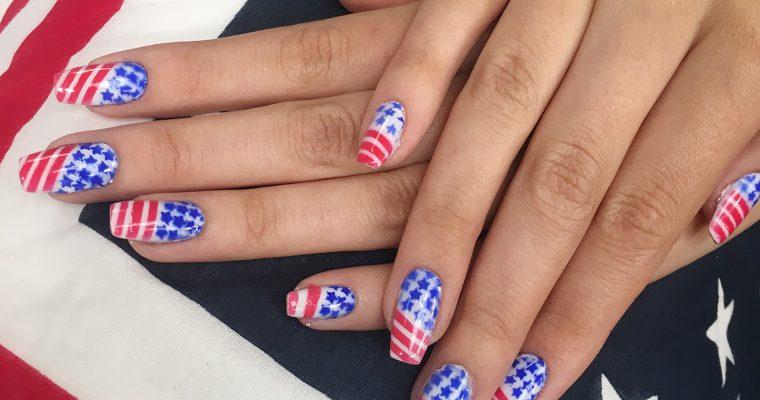 Festive Airbrushed Nails for 4th Of July